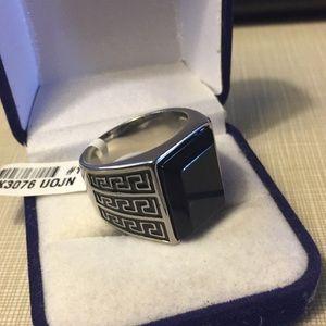 Men's stainless steel ring onyx Black meanderGreek